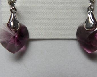 Purple Swarovski Heart Sterling Silver Lever Back Earrings