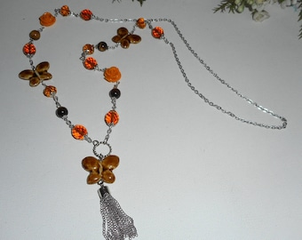 Necklace with Tiger eye Brown etcristal with rose and Butterfly ceramic