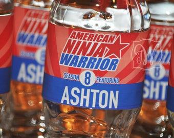 American Ninja Warrior Personalized water bottle wrappers 100% water-proof - American Ninja Warrior water bottle labels