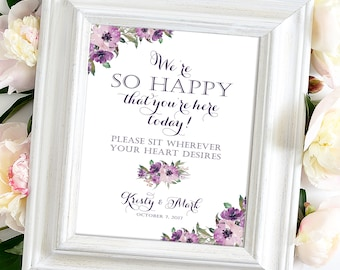 We're So Happy | Sit Wherever Sign | Various Sizes | Add Your Names | Vintage | Eggplant | Purple Blooms | I Create and You Print