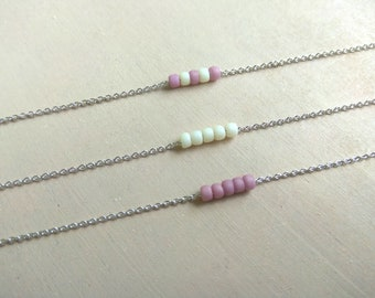 Pastel tiny necklace Beaded necklace Neutral pastel necklace Dainty Layering necklace Delicate Minimalist necklace Minimalist jewelry