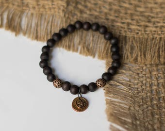 Black Wooden Beaded Bracelet w/ Copper Charm