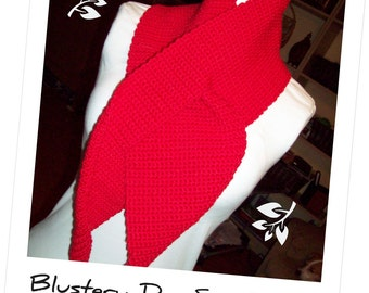 Crochet Pattern for Making a Red Blustery Day Keyhole Scarf PDF Pattern Instant Download Windy Adult