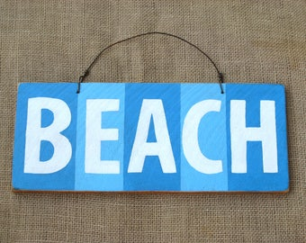 Beach Sign, Wood Beach Sign, Rustic Wooden Sign, Beach House Decor, Blue and White, Door Hanger, Surfside Decor, Ocean Blue, Shabby Chic