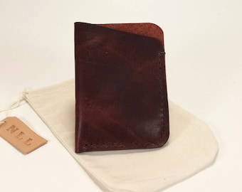 Minimalist Leather Card Wallet, Handmade leather slim wallet, burgundy leather card wallet, made of upcycled leather,