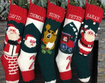 Christmas Stockings Personalized Hand Knit Wool Stockings