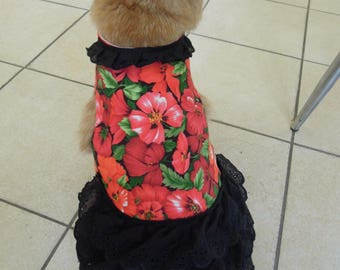 Pet clothing for cats and small dogs: Red and black cotton dress (Red floral with black skirt)