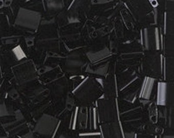 TL-401 Black Miyuki Tila Beads - Black Tila - 2 hole bead - Sold 10 Grams