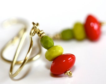 Red and Green Earrings - 'Moody Ladybug'