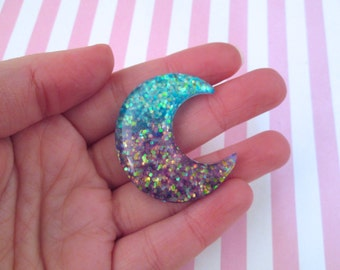 2 Blue and Purple Glitter Resin Moon Cabochons #917