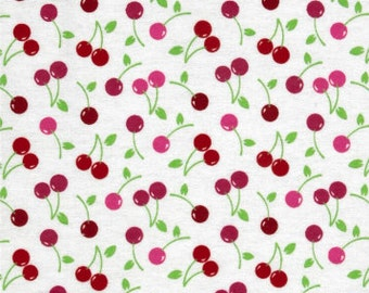 Cherry Flannel, Cherries Fabric By The Yard, Fabric BTY, Craft Fabric, Quilting Fabric, Flannel Fabric, Cotton Fabric, Baby Fabric