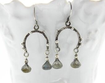 Labradorite Earrings, Gemstone Earrings, Teardrop Earrings, Dangle Earrings, Silver Earrings, Horseshoe Earrings, Sterling Silver