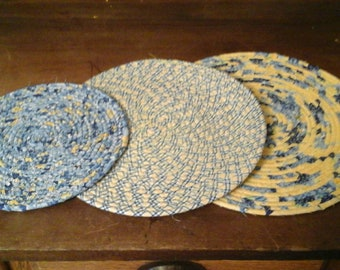 Wrapped rope trivets  Set of 3!