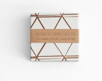 Ceramic Coasters Minimalist Copper Lines on White Geometric Tile Coasters Modern Hostess Gift