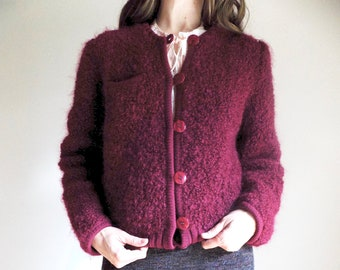 Vintage 70s Bomber Sweater- Eric G - Maroon - Medium