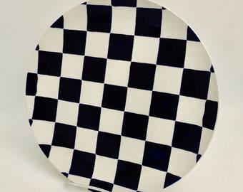 Plate.Checkerboard Dinner Plate.Checkerboard.Dinner.Black.White.Salad Plate.Handmade By Sara Hunter