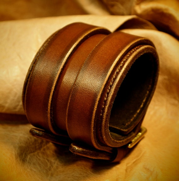 Leather cuff bracelet 2.25 inch distressed Brown Leather Handstitched suede lined Luxury wristband made for You in USA by Freddie Matara