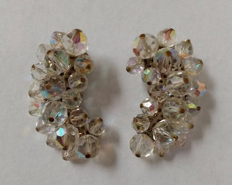 Vintage Beaded Clip On Earrings Iridescent Aurora Borealis and Silvertone
