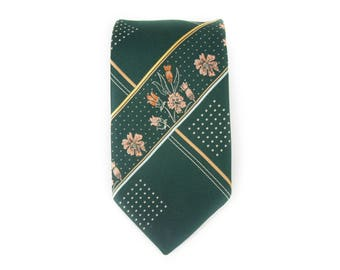 "Vintage Necktie / Wide 4"" Liebert Tie / Green Flowers Polyester Necktie / Mens Tie / Mens Neckties /Guys Necktie Gifts for Guys"