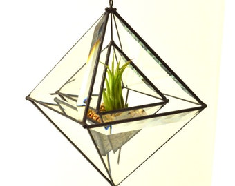 Nested Beveled Glass Pyramid Air Plant planter
