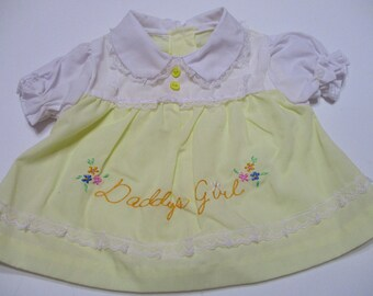Vintage Girls Dress-Daddy's Girl-Embroidered-Size Newborn-White and Yellow