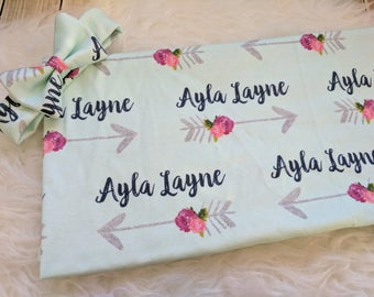 Personalized baby rose arrow name headband and name blanket set: baby and toddler personalized name newborn hospital gift baby shower gift