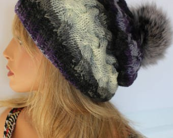 Multicolor Hat/ Large Genuine Fox Fur Pom Pom Hat/ Slouchy Hat/ Removable Pom Pom/ Ready To Ship