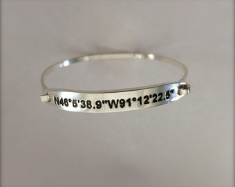 Coordinates Bracelet Single or Double Sided  Options - Fine Sterling Silver - Read listing description for details