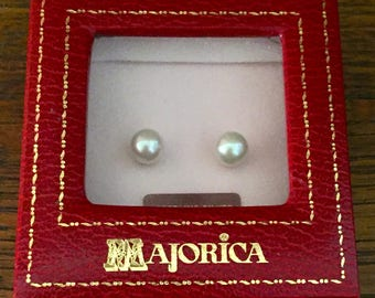 Majorica Pearl Stud and gold Earrings. Never worn.