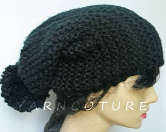 The Extra Long Satin Lined Urban Slouch Hat w/Pom-Pom/Chunky Knit Hat