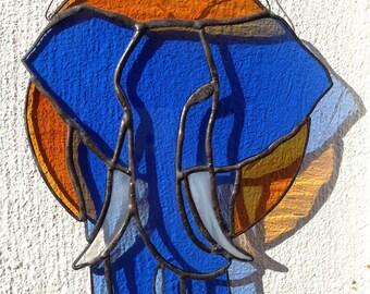 Blue elephant in the sun, stained glass art, suncatcher, window decoration, birthday gift,