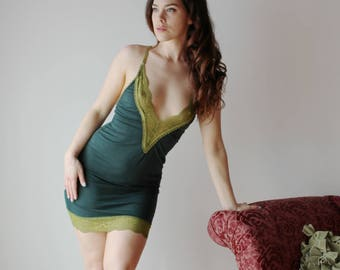 lace trimmed bamboo slip or sleep chemise  - ICON lingerie range - made to order