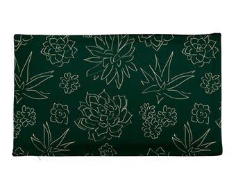 Succulents Rectangular Pillow Cover - COVER ONLY - Flower Garden Pillow case- Green Rectangular Pillow Case only