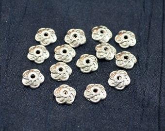 Antique Silver Bead Caps, Tibetan, Silver Plated, Flower, Premium Quality, 25 pcs