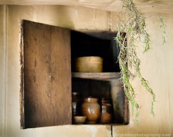 Hanging spice and cupboard, Rosemary, Cottage Chic, Rustic, Old world, Signed photography print.
