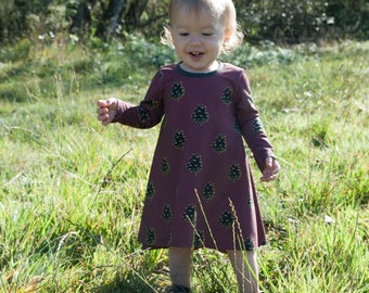 Tshirt Dress - Organic Cotton Dress - Woodland Dress - Nature Baby Dress - Organic Baby Clothes - Swing Dress - Organic Baby Dress