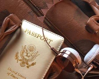 Gold Passport Cover, Passport Holder, Gold