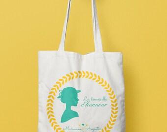 Tote Bag mariage Demoiselle d'honneur - Romantique - tote bag personnalisé - shopping bag wedding - bridesmaid gift -  tote bag témoins