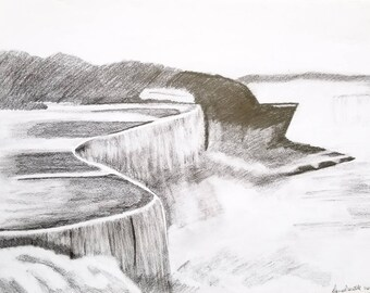 Waterfall drawing Waterfall art Waterfall wall art Cliff drawing Cliff art Cliff wall art