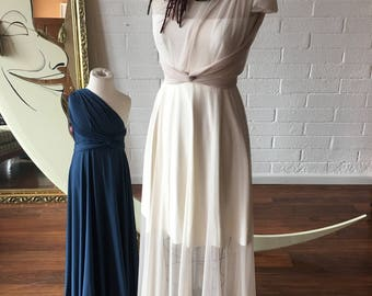 Sheer Ivory Linen Mesh Whimsical Infinity Wrap dress with Short attached Slip and Separate Bandeau- Custom Combine Sheer Fabrics