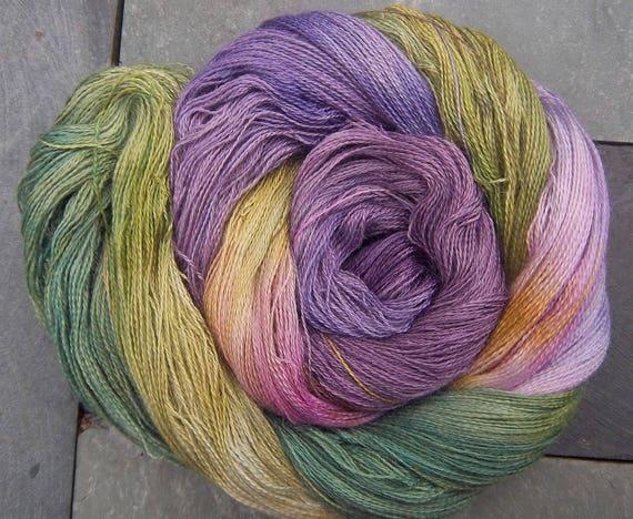 Alpaca Silk Lace 2ply Yarn Heathery Hills Elvincraft Hand Painted