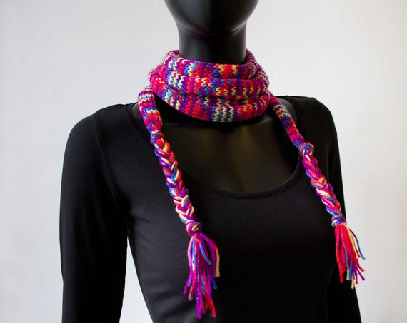Harlequin Spaghetti Scarf - Purple and Red Colourful Skinny Scarf for Spring - Colorful Spring Scarf - Multicoloured scarf - thin scarves