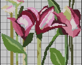 2#Digital Pink Day Lilies Cross Stitch Pattern