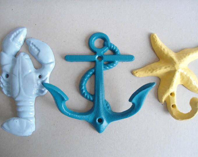 Lobster anchor starfish sea star dolphin mermaid crab seahorse whale turtle sand dollar set of 5 hooks in many colors