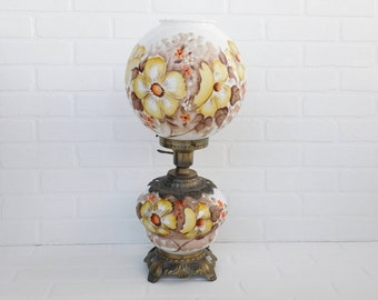 Vintage Gone With The Wind Lamp Hand Painted Yellow Flowers Signed Parlor Lamp