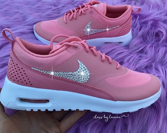 Swarovski Nike Air Max Thea Pink Shoes Crystals