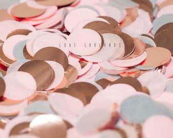 Blush Grey Rose Gold Round Confetti, Blush Grey Rose Gold Circle Confetti, Wedding Confetti, Rose Gold Confetti, Blush Balloon Confetti