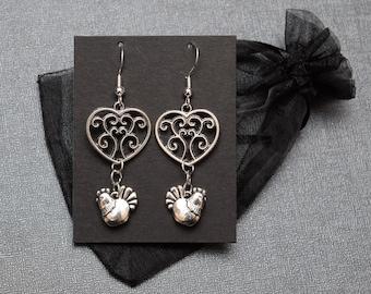 Legend of Zelda earrings – Skyward Sword heart container and cucco / Link chickens – fandom cosplay jewelry / jewellery