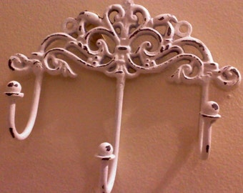 Treasury Item - Shabby Chic Key Holder, Wall Hook, WhITE SAtIN in COLoR, HarDWAre IS inCLUded