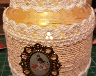 Shabby Chic Jar with twine and Crochet Lace Trim (With or withour LED Battery Operated Candle Light)